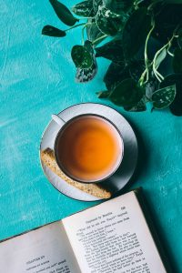 image of book and cup of tea